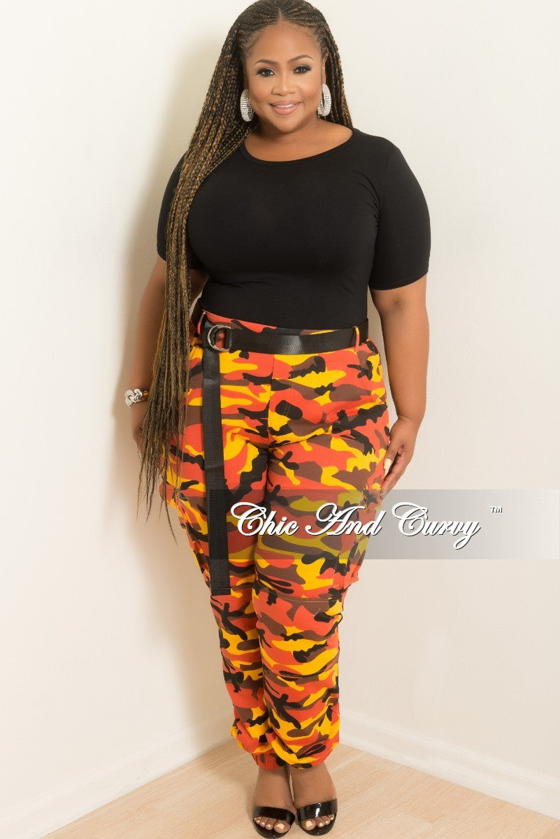 Final Sale Plus Size Pants in Orange Camouflage Print