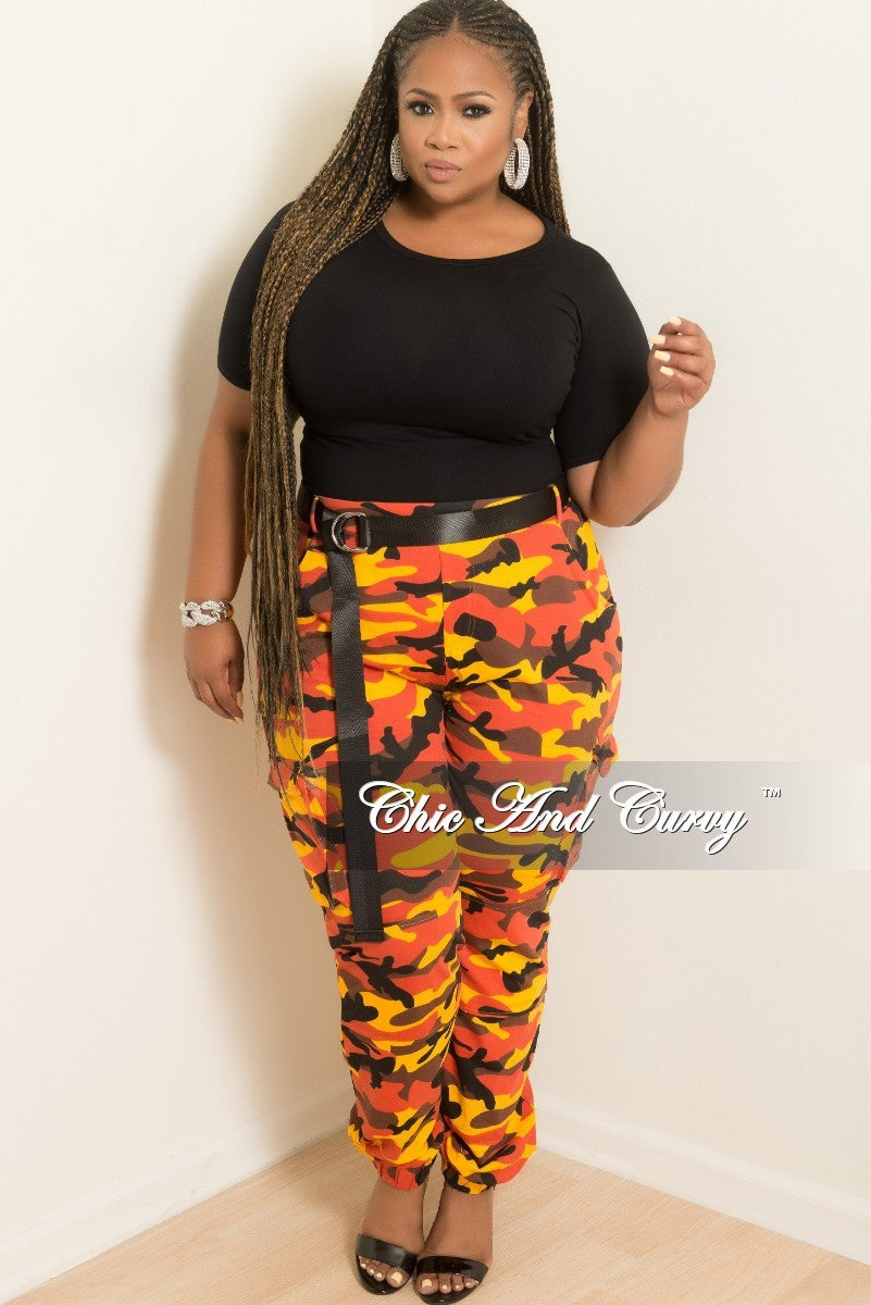 New Plus Size Pants in Orange Camouflage Print