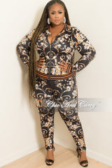 Final Sale Plus Size 2-Piece Jacket and Pants Set in Black Orange White and Blue Floral Print
