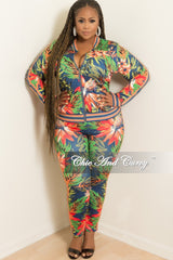 Final Sale Plus Size 2-Piece Jacket and Pants Set in Navy Floral Print