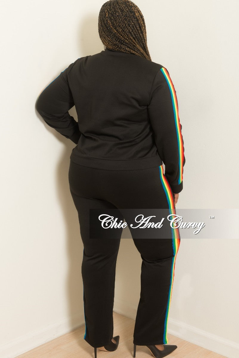 New Plus Size 2-Piece Zip Up Jacket and Pants Set in Black with Rainbow Trim