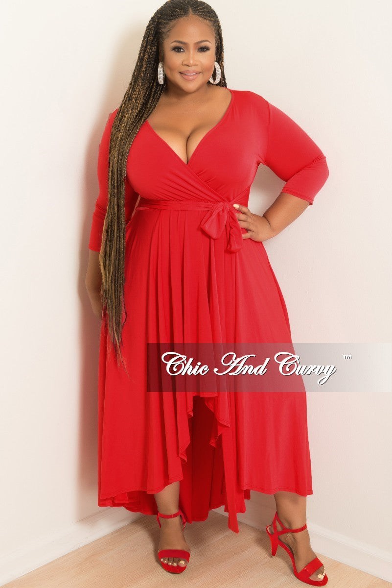 New Plus Size Faux Wrap High-Low Dress with Attached Tie in Red ...
