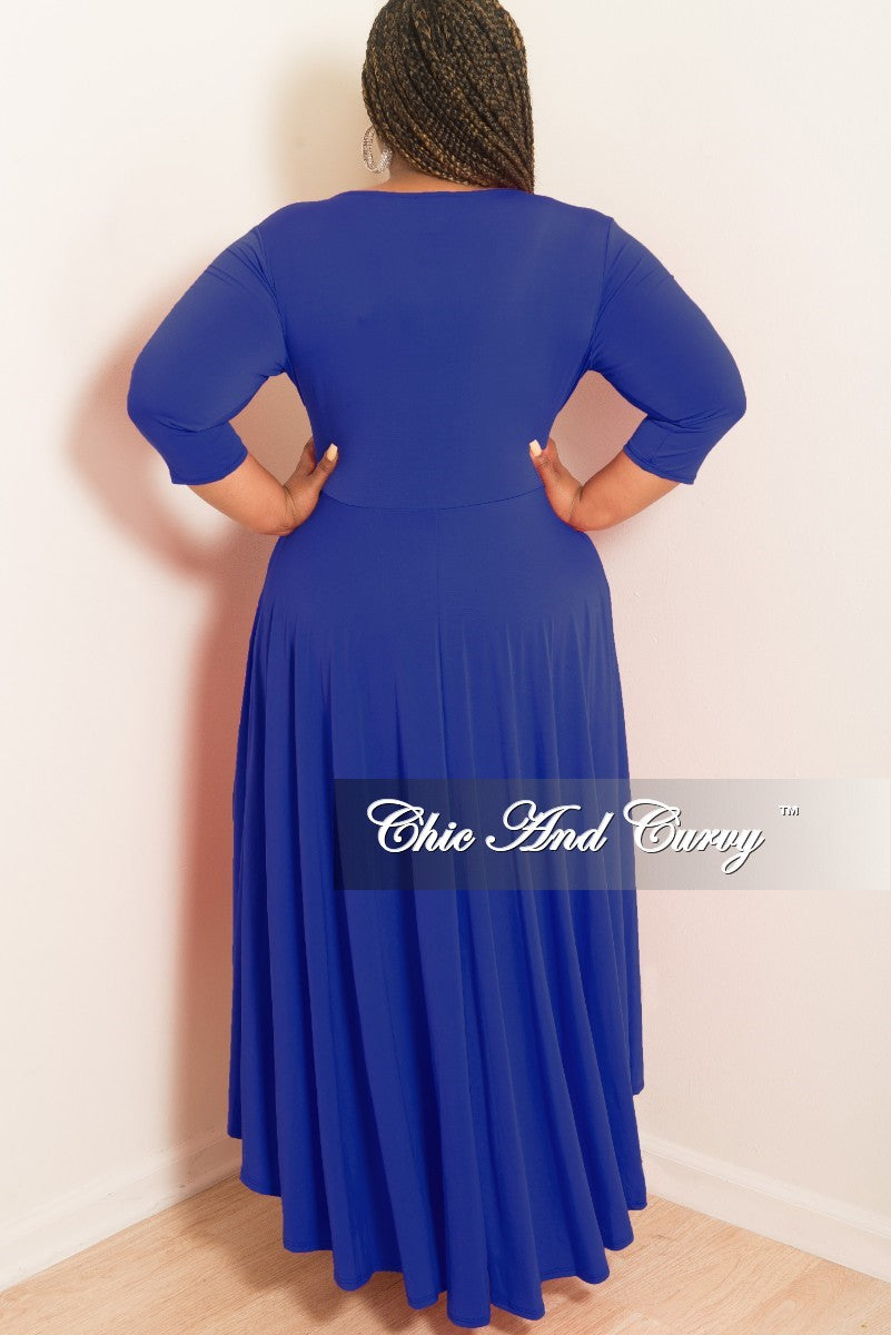 New Plus Size Faux Wrap High-Low Dress with Attached Tie in Royal Blue