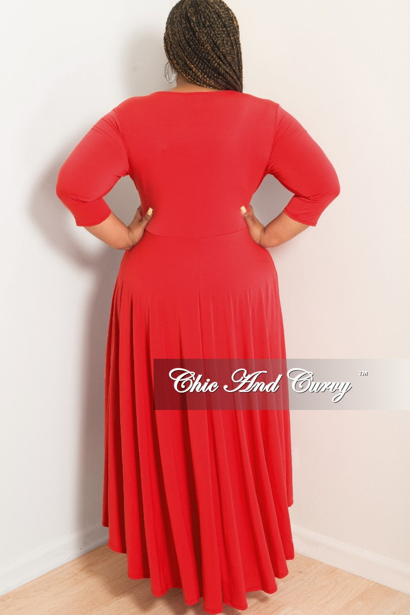 New Plus Size Faux Wrap High-Low Dress with Attached Tie in Red