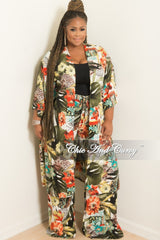 New Plus Size Pants and Matching Coat Set in Paradise Print