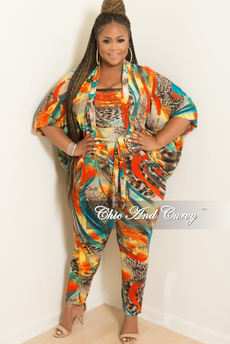 Final Sale Plus Size 2-Piece Tube Jumpsuit with Attached Tie and Matching Coat Set In Multi Color Print