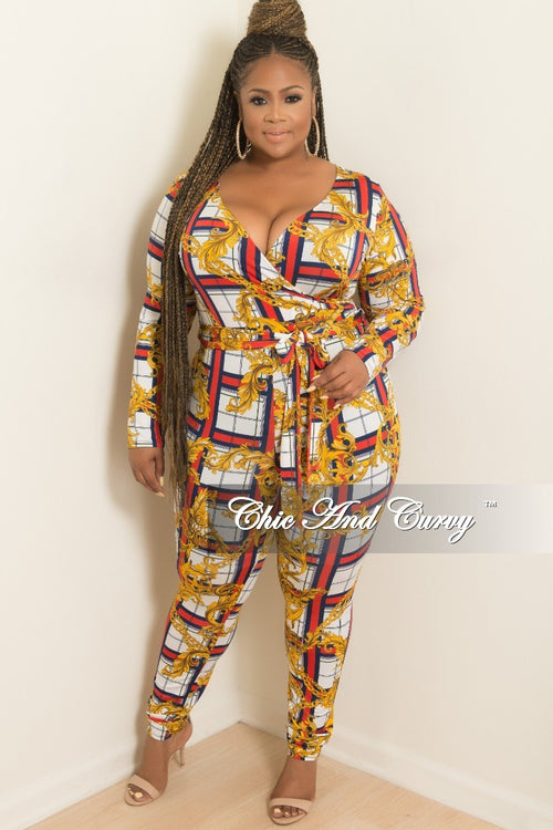New Plus Size Faux Wrap Plaid Chain Print Jumpsuit with Attached Tie in White Red Blue and Yellow