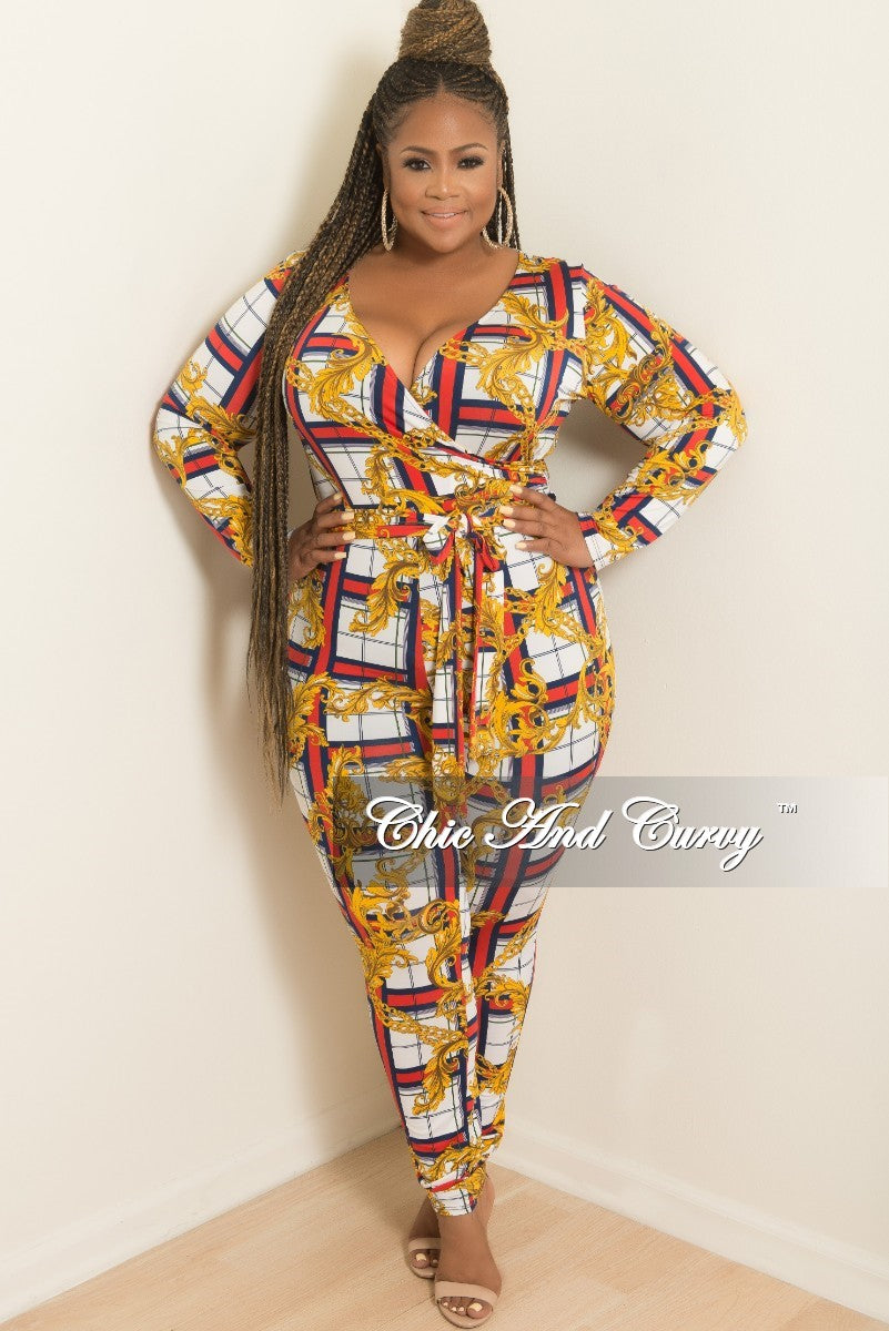 a635dbfea4f New Plus Size Faux Wrap Plaid Chain Print Jumpsuit with Attached Tie i –  Chic And Curvy