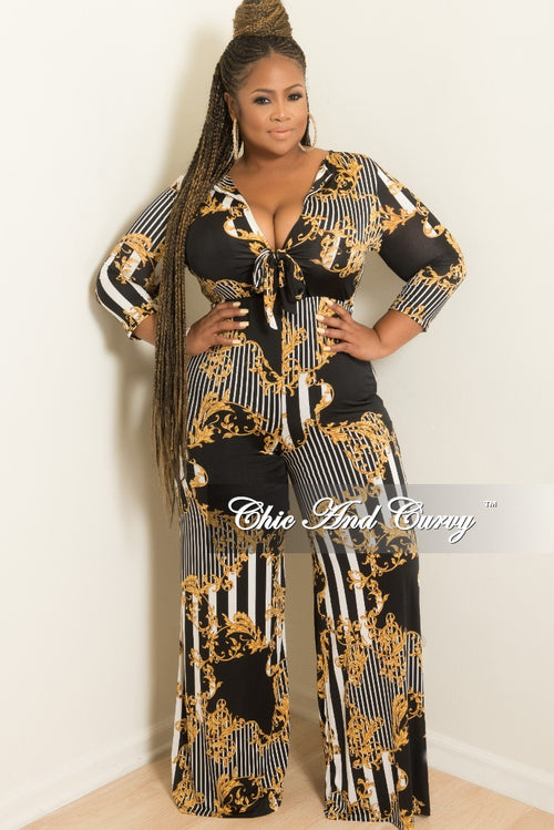 New Plus Size Faux Wrap Bow Front Stripe Jumpsuit in Black White Gold