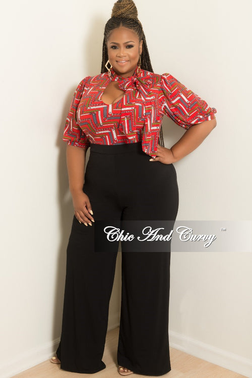 New Plus Size Puffy Sleeve Jumpsuit with Front Cutout and Neck Tie with Back Gold Zipper in Red and Black