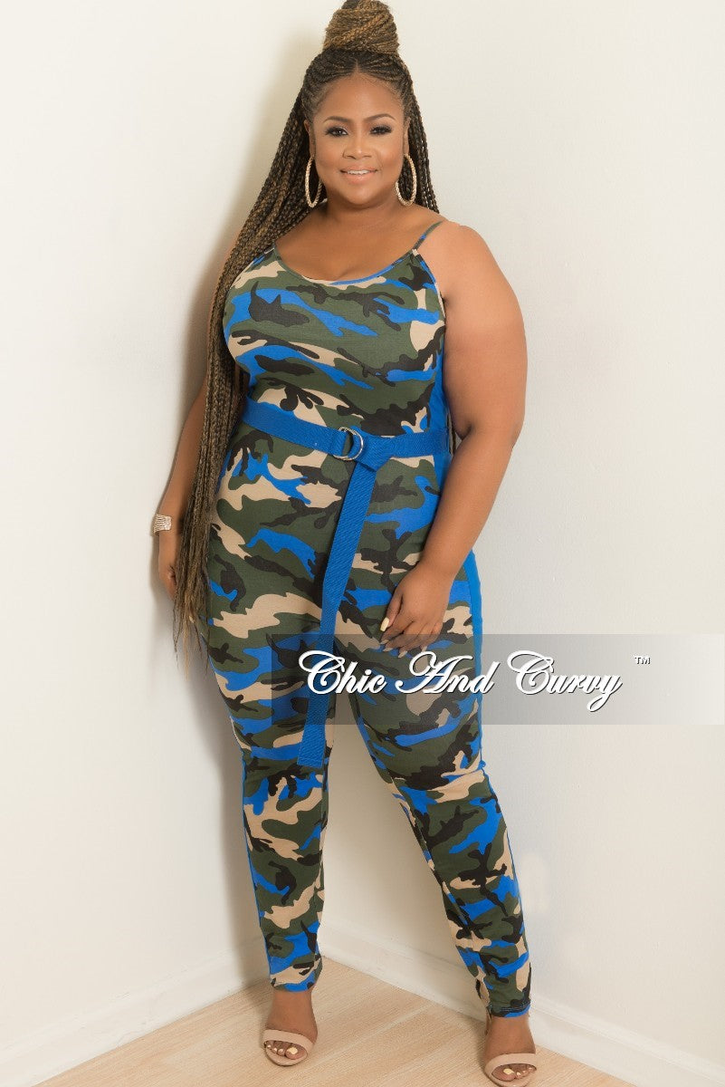 Final Sale Plus Size Spaghetti Strap Jumpsuit with Attached Belt in Camouflage and Royal Blue Print