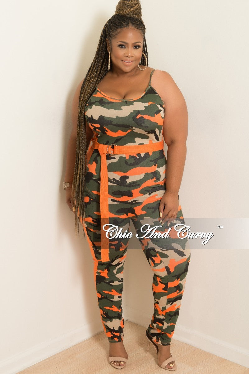 New Plus Size Spaghetti Strap Jumpsuit with Attached Belt in Camouflage and Orange
