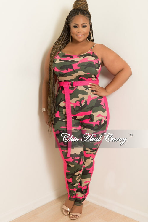 a619d90fb21 New Plus Size Spaghetti Strap Jumpsuit with Attached Belt in Camouflage and  Hot Pink