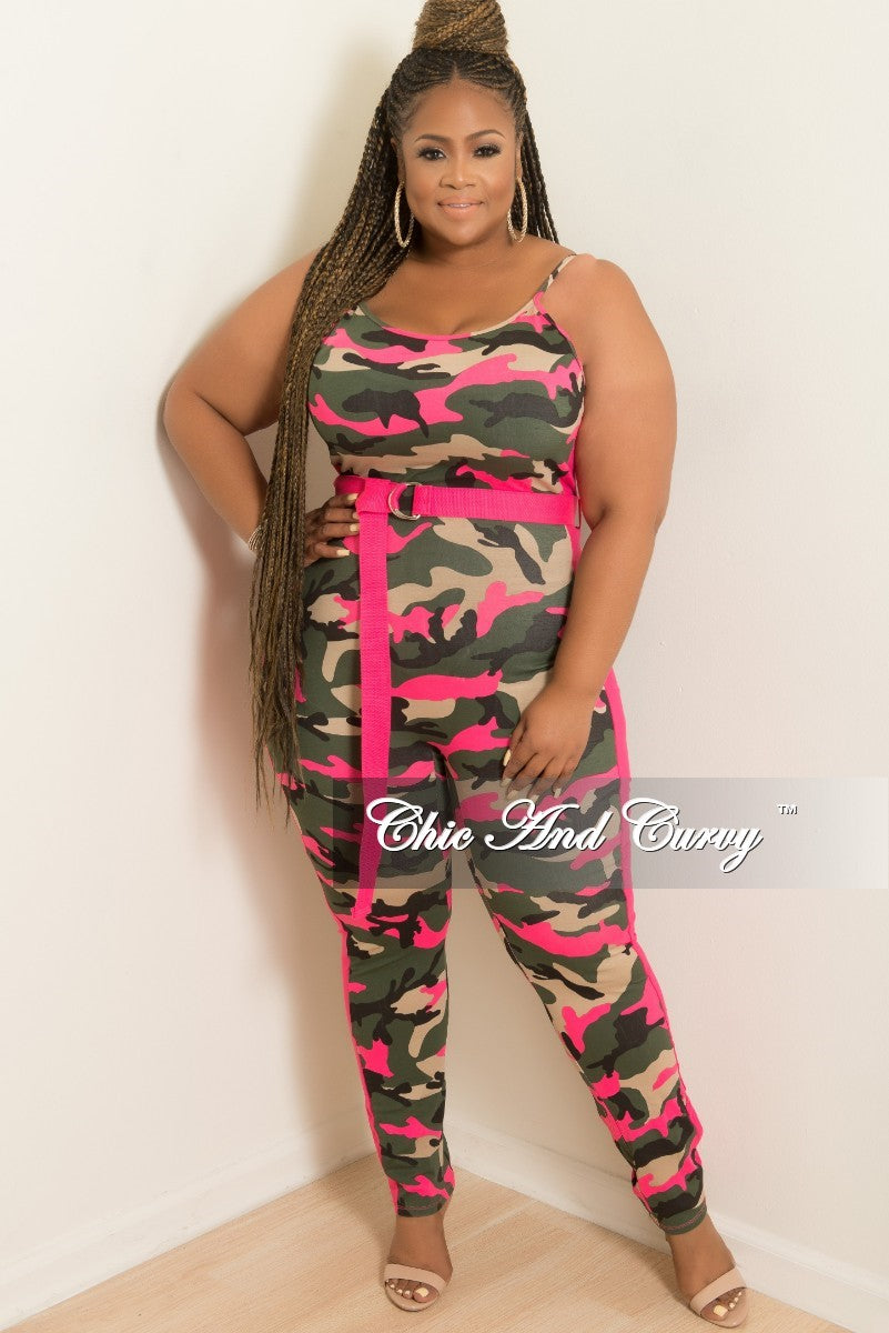 New Plus Size Spaghetti Strap Jumpsuit with Attached Belt in Camouflage and Hot Pink