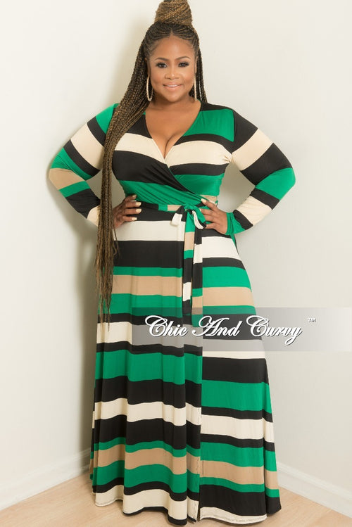 New Plus Size Long Wrap Dress with Attached Tie in Black Green and Ivory Stripe Print