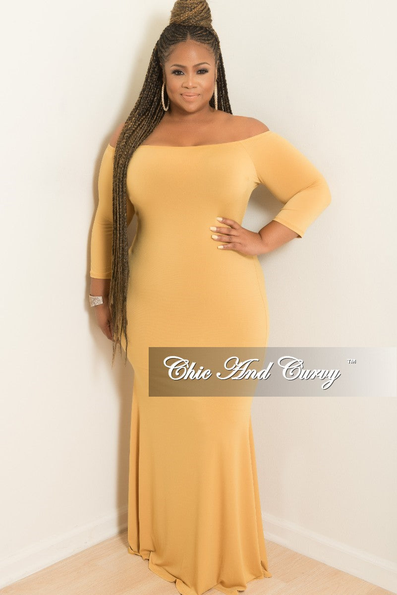 Final Sale Plus Size Off the Shoulder Mermaid Dress in Mustard