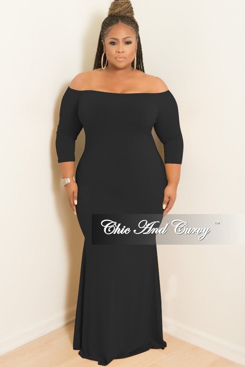 New Plus Size Off the Shoulder Mermaid Dress in Black – Chic And Curvy