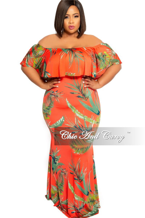New Plus Size BodyCon Long Dress with Off the Shoulder Ruffle in Dark Coral Leaf Print