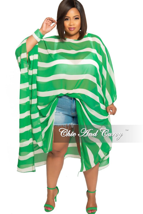 Final Sale Plus Size Sheer Oversized Dress with Open Cuff Sleeves in Green and Off White Stripe Print