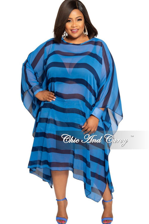 Final Sale Plus Size Sheer Oversized Dress with Open Cuff Sleeves in Navy and Powder Blue Stripe Print