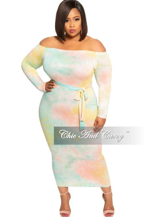 New Plus Size Off the Shoulder Long Sleeve BodyCon Dress with Attached Tie in Multi Color Tie Dye Print
