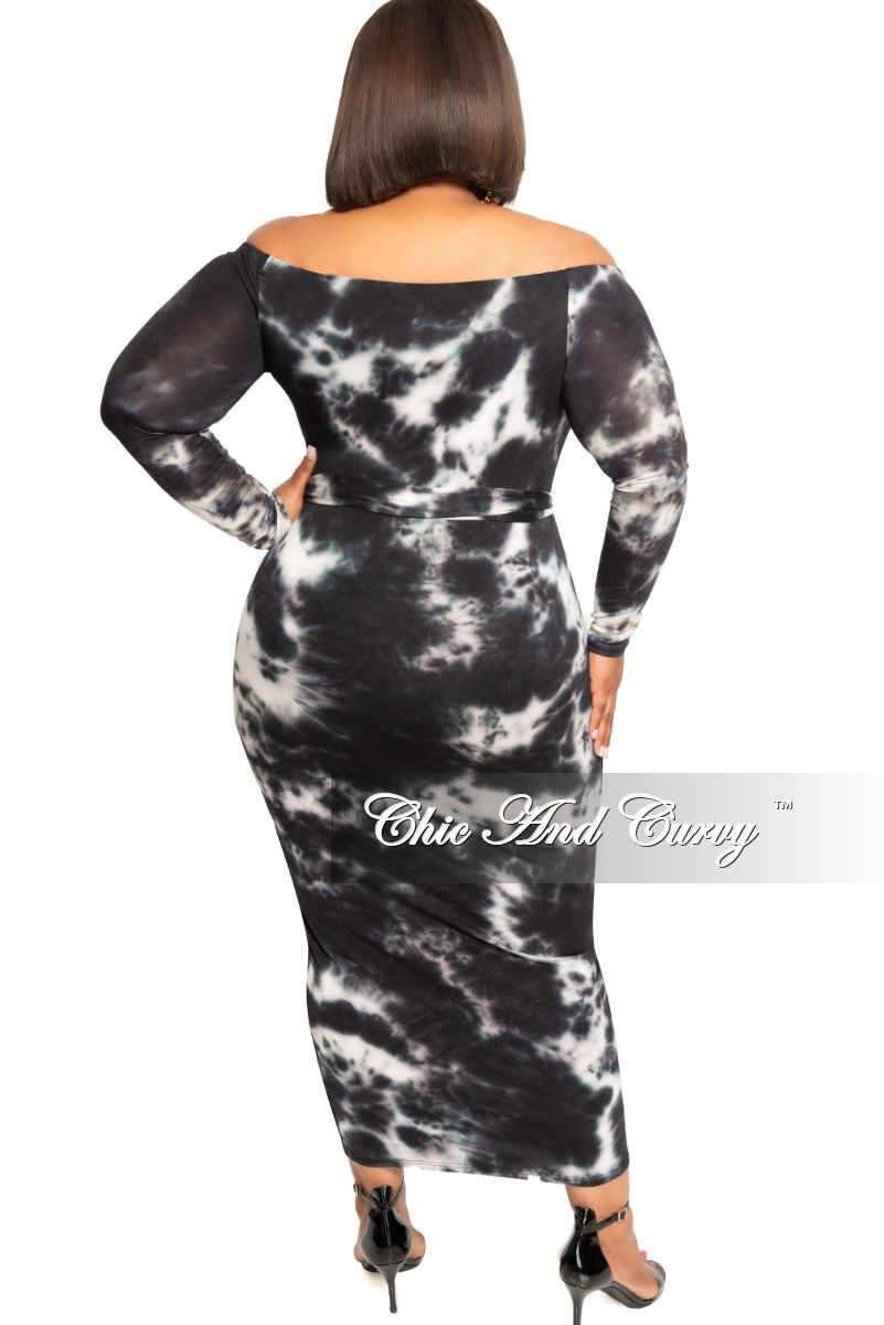 New Plus Size Off the Shoulder Long Sleeve BodyCon Dress with Attached Tie in Black and White Tie Dye Print
