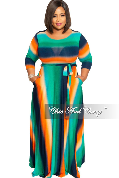 New Plus Size Pocket Maxi with 3/4 Sleeves in Orange Green and Navy Tie Dye Print