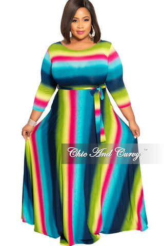 New Plus Size Spaghetti Strap Maxi with Matching Head Wrap in Tan Green Orange and Red Tie Dye Print