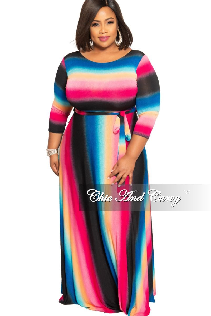 New Plus Size Pocket Maxi with 3/4 Sleeves in Pink Blue and Black Stripe Print