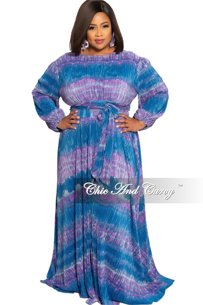 Final Sale Plus Size 2-Piece Faux Wrap Bow Tie Top and Skirt Set in Navy and Purple