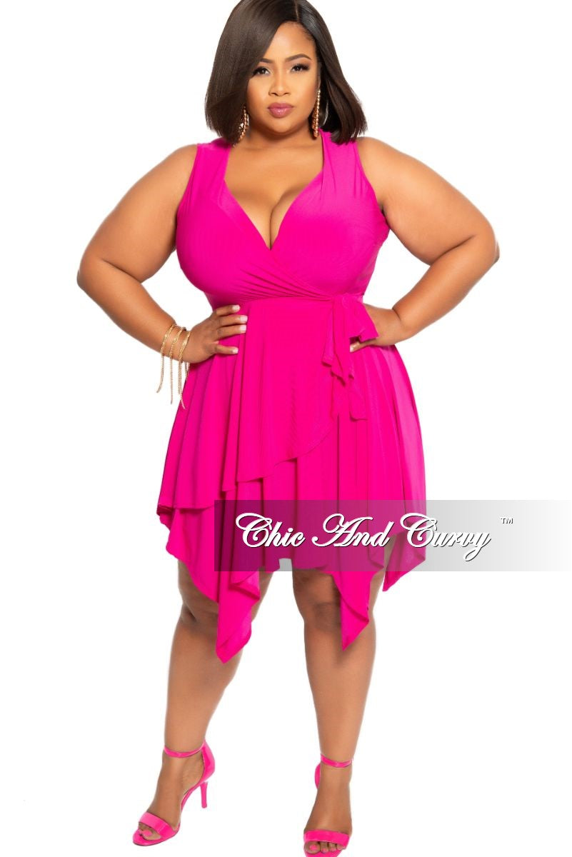 Final Sale Plus Size Sleeveless Faux Wrap Dress with Side Tie in Hot Pink