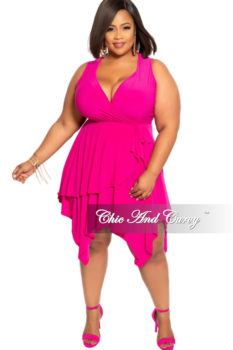 New Plus Size Sleeveless Faux Wrap Dress with Side Tie in Hot Pink