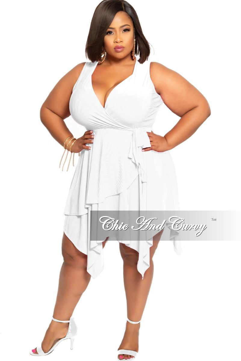 Final Sale Plus Size Sleeveless Faux Wrap Dress with Side Tie in White