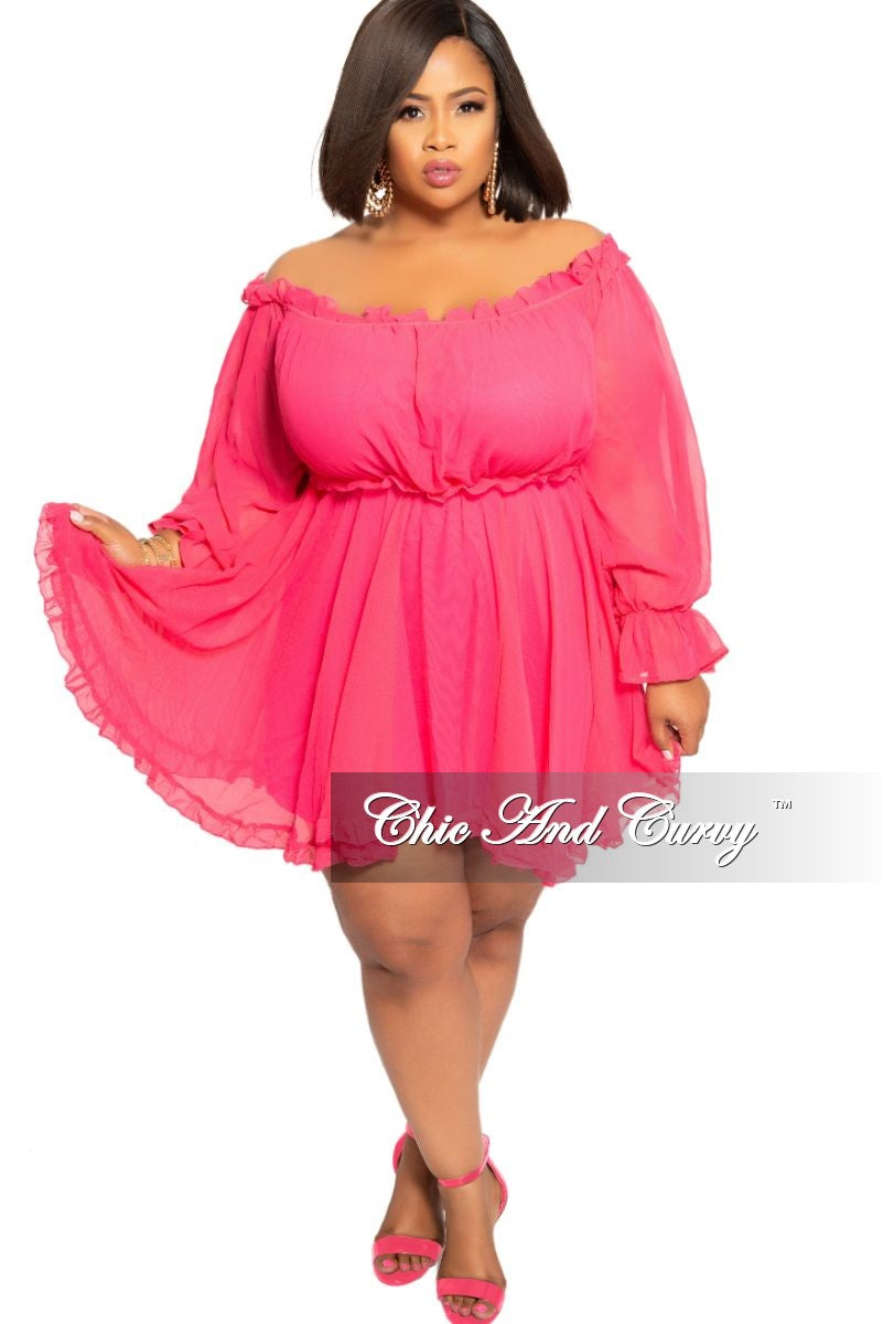 Final Sale Plus Size Chiffon Off the Shoulder Baby-Doll Dress in Hot Pink