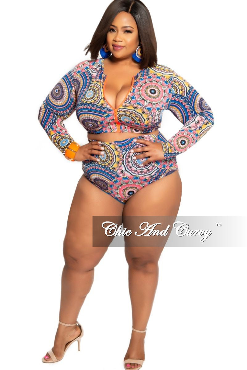 Final Sale Plus Size 2-Piece (Zip Up Crop Top and High Waist Brief) Poolside Playsuit in Royal Blue Pink Orange and Yellow Color Design Print