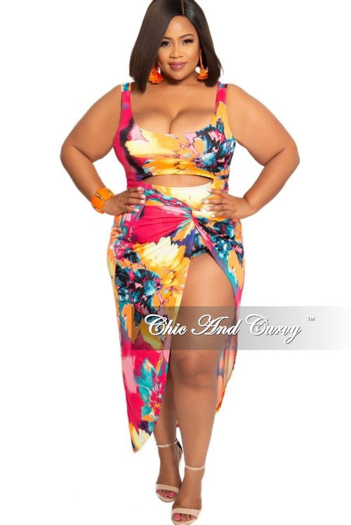 Final Sale Plus Size 2-Piece (Cutout Front Bodysuit and High Split Skirt) Poolside Playsuit in Magenta Floral Multi Color Print