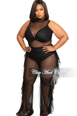 Final Sale Plus Size Mesh Pants with Side Ruffle in Black