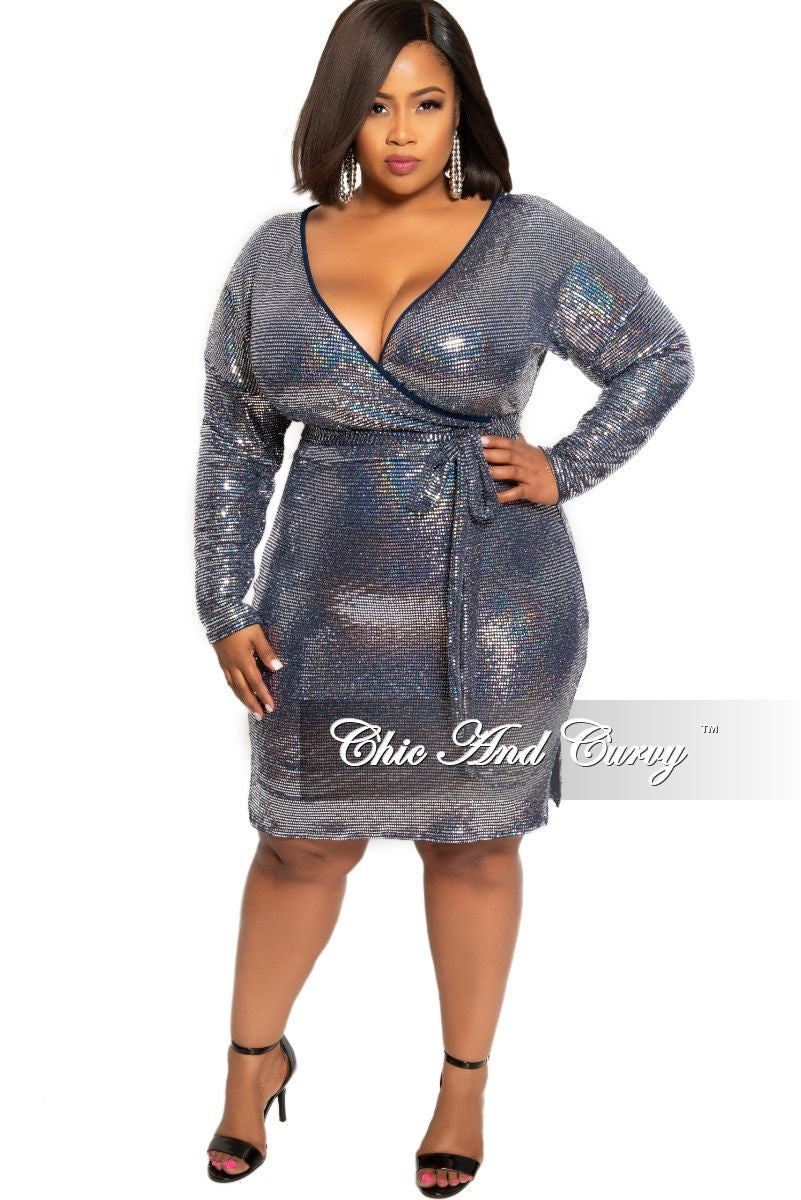 Final Sale Plus Size Sequin Faux Wrap Hologram BodyCon Dress with Tie in  Silver and Navy