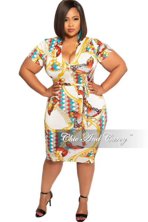 New Plus Size Short Sleeve Zip-Up BodyCon Dress with Attached Tie White Teal Yellow Black and Red Design Print
