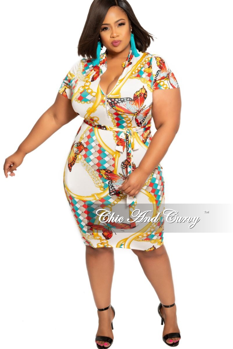 Final Sale Plus Size Zip-Up Tie BodyCon Dress White Teal Yellow Black and Red Design Print