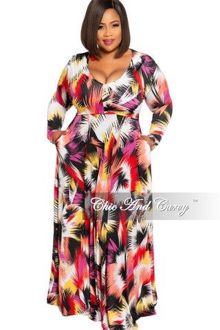 New Plus Size Faux Wrap Maxi Dress in Orange Brown Mustard and White (Rust Print)