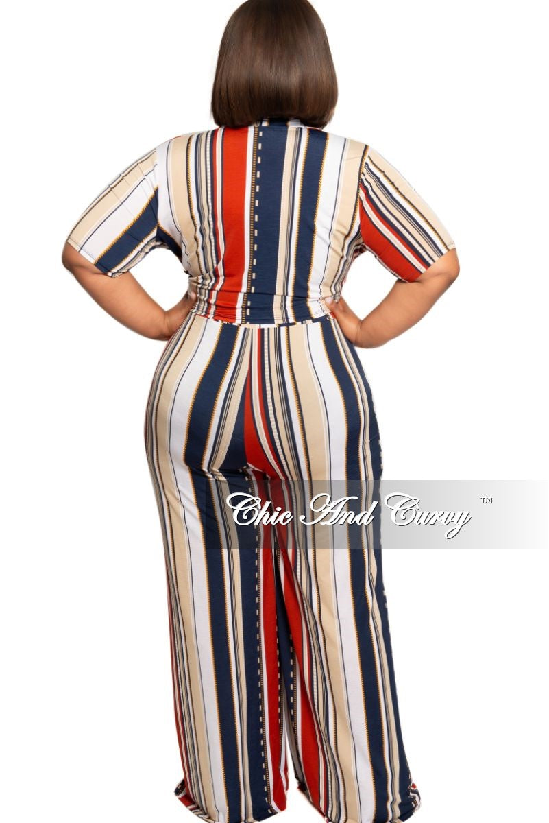 Final Sale Plus Size 2-Piece Collared Tie Crop Top and Pants Set in Navy Burgundy Tan Stripe Print