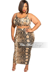 Final Sale Plus Size 2-Piece Sleeveless Crop Tie Top and High Waist Skirt with Bottom Slit in Brown and Black Snake Skin Print