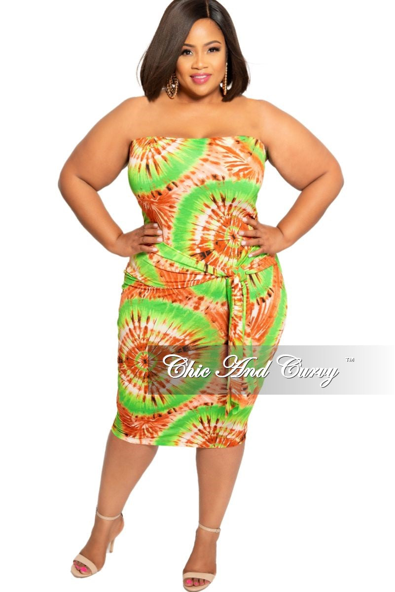 New Plus Size Tube Dress with Waist Tie in Green and Brown Design ...