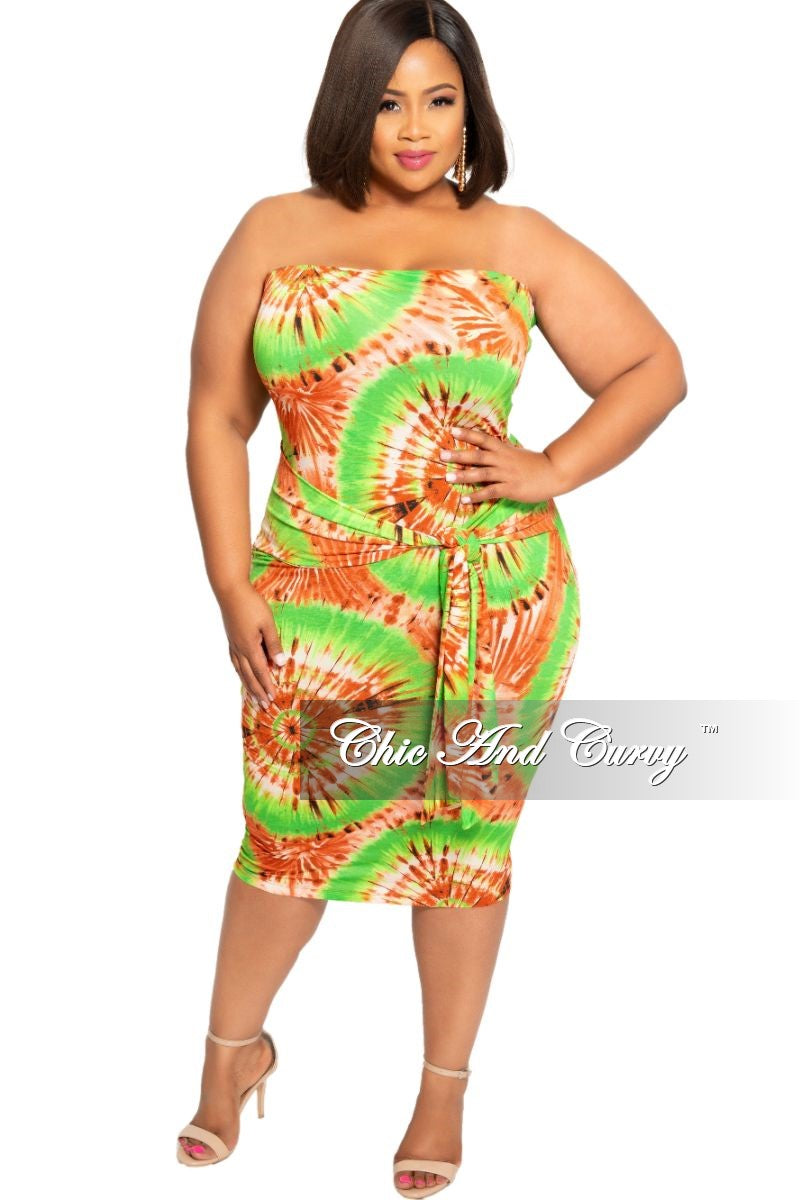 Final Sale Plus Size Tube Dress with Waist Tie in Green and Brown Design  Print