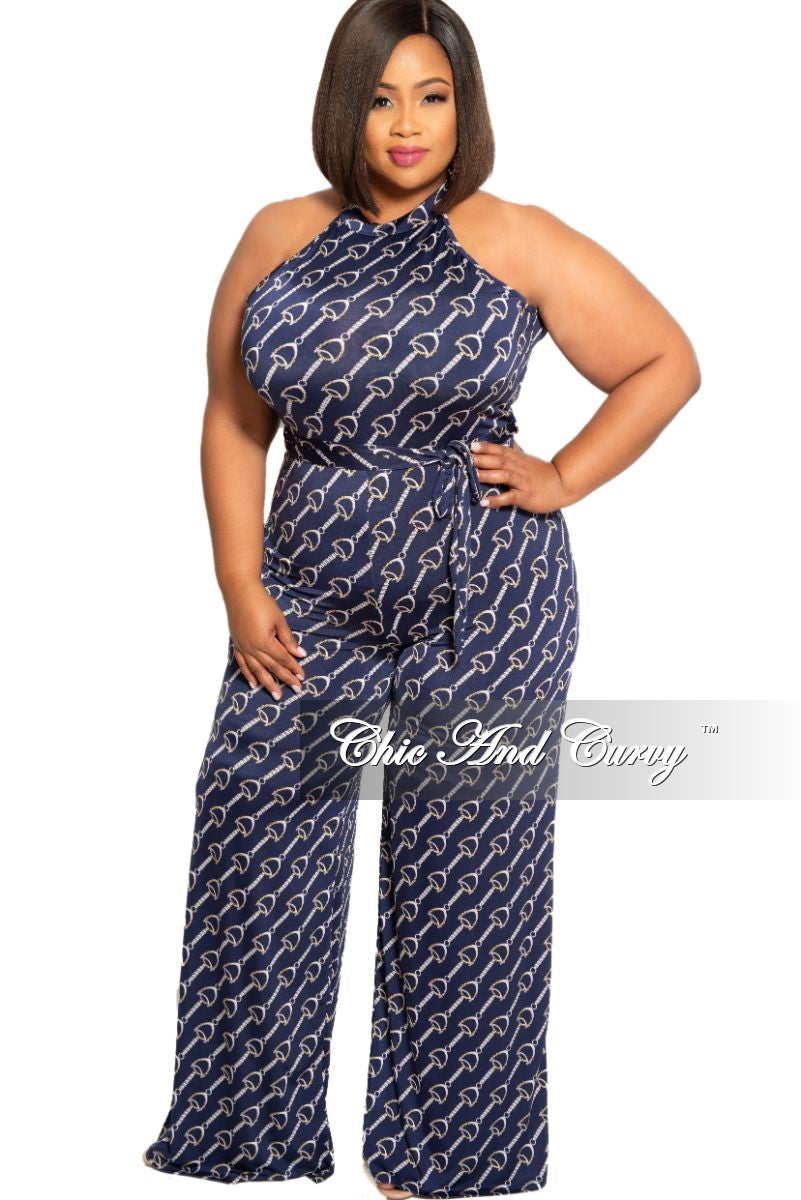 New Plus Size Chain Printed Sleeveless Jumpsuit with Attached Tie in ...