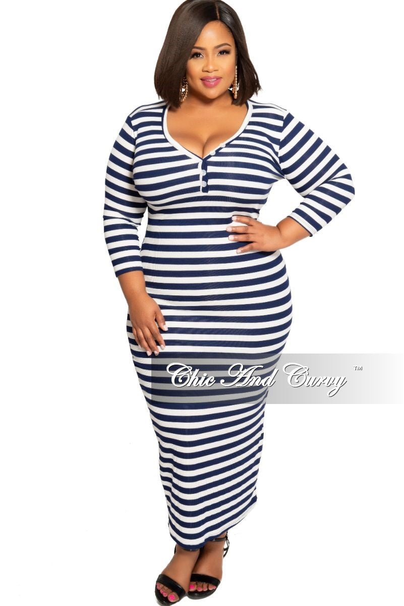 Final Sale Plus Size BodyCon Dress Midi with Front Buttons in Navy and White Stripe Print