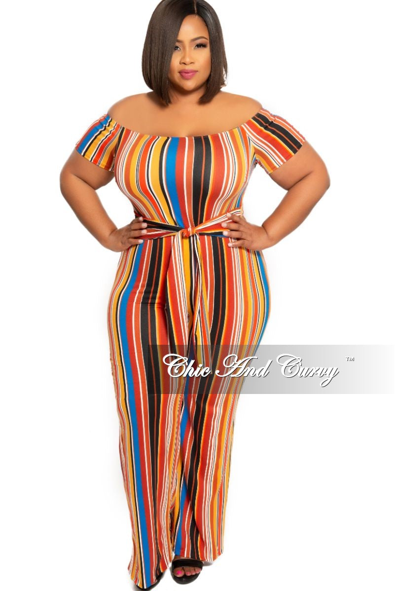 New Plus Size 2-Piece Off the Shoulder Crop Tie Top and Pants Set in Mustard Burgundy Rust and Royal Blue Stripe Print