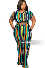 Final Sale Plus Size 2-Piece Ribbed Crop Top and Palazzo Pants Set in Navy Teal Orange and Lime Green Stripe Print