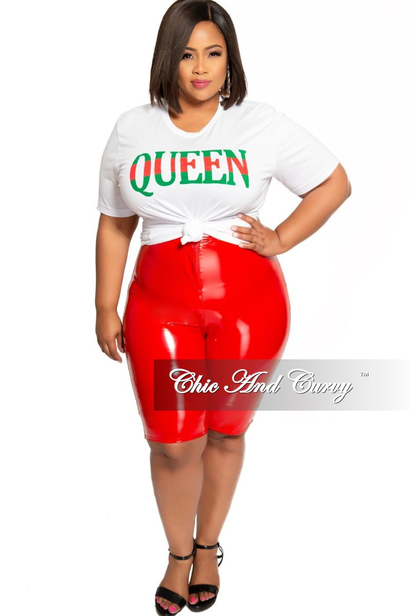 Final Sale Size Plus Patent-Leather Bermuda Shorts in Red